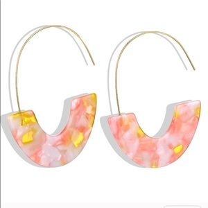 Pink and Peach Acrylic Earrings